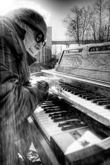 Railroad Tracks and an Organ - Norman 2025 (JLPhotoArt - Jeremy Lindstrom) Tags: ca musician music canada vintage keyboard bc surrealism traintracks surreal oldman retro newwestminster unplugged railroadtracks lowreyorgan