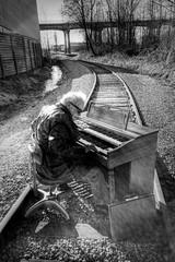 Railroad Tracks and an Organ - Norman 2045 (JLPhotoArt - Jeremy Lindstrom) Tags: ca musician music canada vintage keyboard bc surrealism traintracks surreal oldman retro newwestminster unplugged railroadtracks lowreyorgan