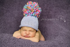 Knit Baby Hat Great for Photographer's Prop in Purple Rust Mint Green and Pink with Big Pom Pom Portrait by Photography by Ro (Babbidge Patch Adorable Hats & Scarves) Tags: pink hat knitting purple cutebaby cocoon sleepingbag papoose etsybaby etsyknitters etsykidsteam fluffypompom