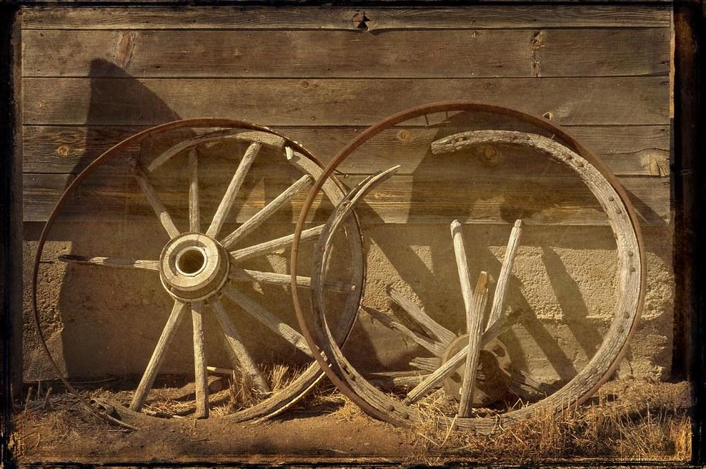 Wagon wheels, aged tin type