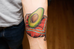 (gospastic) Tags: red orange brown chicago black green yellow tattoo ink avocado small fluffy pit pillow fancy half studios cushion wendell striped insight frazier tassels insightstudios