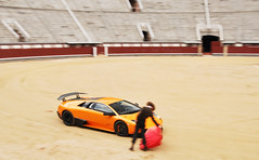 El Toro Salvaje (Thomas van Rooij) Tags: madrid life orange cars car photography spain nikon fighter photoshoot thomas stadium awesome automotive super location bull arena spanish experience stadion fighting panning incredible lamborghini arancio toro supercar sv toreador bullring borealis supercars murcielago 18105 matador torero plazadetoros ol veloce bulfighting lasventas dreamcar d90 hypercar rooij worldcars superveloce lp6704 lp670 thomasvanrooij