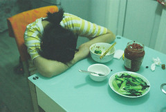 sleeping on dining table