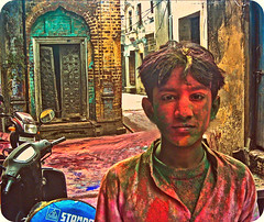 HAPPY HOLI:) (manumint-[BUSY]) Tags: old friends music streets texture water colors kids fun dance spring vishnu vespa play bright joy scooter cycle devotion shops laughter walls welcome roads splash punjab hinduism holi mythology bestfriends bonfires colorsoflife holihai festivalofcolors hoshiarpur prahlada holika oneofmyfavfestival
