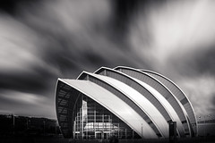 The Armadillo (_skynet) Tags: glasgow armadillo secc river clyde building architecture bnw black white urban landmark structure shape geometry scotland clouds cloud infinity masks light art city bw finnieston auditorium longexposure