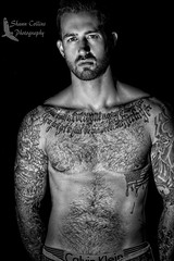 Model John (Shawn Collins Photography) Tags: model modeling tattoo tattoomodel hairy hairychest hairystomach hairymodel beard scruff fur beards shirtless shirtlessguy built masculine muscle abs chest handsome sexy stare eyes rugged man