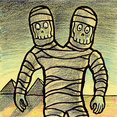 Mummy Monday (Tom Bagley) Tags: mizuki mummy desert pyramids sand bandages drawlloween ink colouredpencils twoheaded creepy eerie weird monster tombagley calgary alberta canada