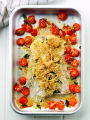 Coley with Crme Fraiche and Cherry Tomatoes (serves 2) (J Sainsbury) Tags: fish sainsburys recipes