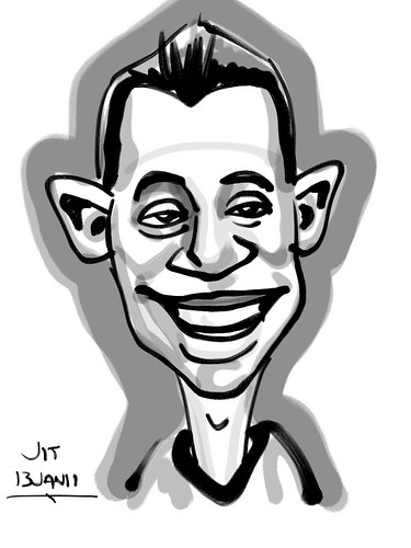 Ipad digital caricature live sketching for AES Sports Showdown - 1