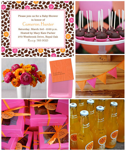 Pink, Orange and Brown Baby Shower