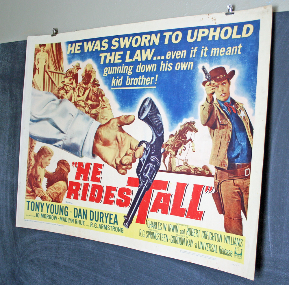 Original 1964 vintage he rides tall western movie poster