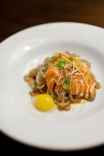 Salmon Sashimi & Quail Egg over Yam Noodles