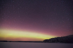 Aurora (neatmummy) Tags: winter light sky white lake snow cold ice water colors night photoshop canon finland dark lens stars eos lights long exposure mark freezing adobe ii aurora 5d northern eastern 31 f28 2010 correction celcius 1635mm lieksa f28l ruunaa cs5 5dmarkii 5d2 neitijrvi