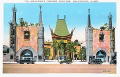 Grauman's Chinese Theater, Los Angeles, USA (Truus, Bob & Jan too!) Tags: california usa cinema color colour building architecture vintage us postcard cinemas hollywood orientalism chinesetheatre grauman cinemaarchitecture