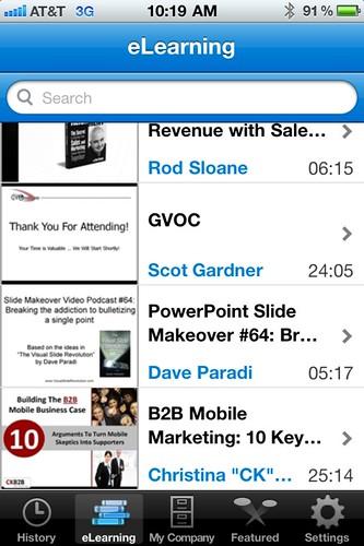 Brainshark iPhone app - eLearning Tab