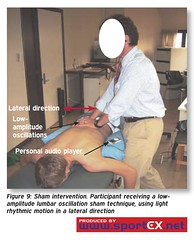 Sham intervention. Participant receiving a low-amplitude lumbar oscillation sham technique, using light rhythmic motion in a lateral direction (sportEX journals) Tags: sportex spineinjury sportsinjury sportexdynamics sportsrehabilitation spinallumbarmobilisation