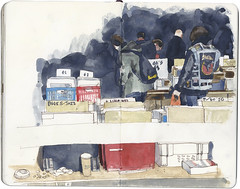 Vinyl hunters (Wil Freeborn) Tags: moleskine sketch glasgow journal vinyl fair record watercolour qmu