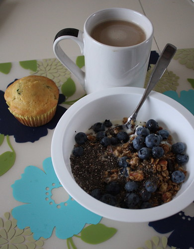 yogurt with granola, chia seeds, blueberries; jalapeno cornbread muffin; coffee