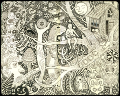 2011 Year Plan (pageofbats) Tags: moon moleskine illustration ink dinosaur drawing treehouse dinny torchginger lincolnimp