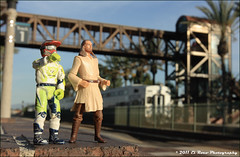 Railfaning is Best Done with Friends - James Stewart and Qui-Gon Jinn Hit Fullerton (El Roco Photography) Tags: toy toys plasticpeople elrocophotography
