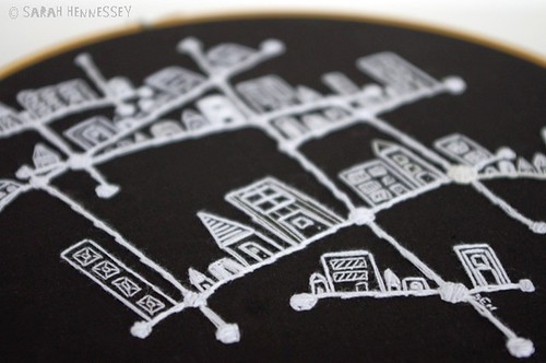 Constellation City Embroidered Hoop Art3