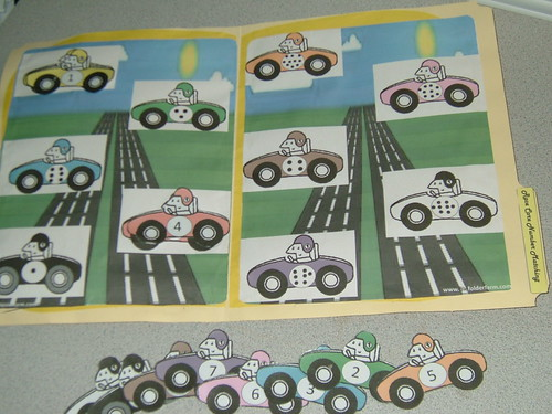 Race Car Number Matching File Folder Game 2