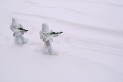 """""""I swear they parked the AT-AT around here somewhere."""" (9mm Eds Photos) Tags: winter white snow ice toy starwars freeze figure stormtrooper blizzard hoth snowtrooper snowblowerhousehomeillinois2011"""