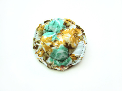 mint and ochre flowers heart brooch