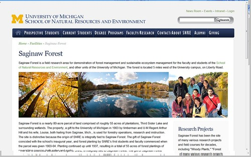 SNRE Saginaw Forest page