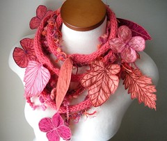 Long and Leafy Scarf with Embroidered Leaves- Bright Salmon with Orange, Thulian Pink, and Red-Violet Berries (Betsie Withey) Tags: motion leaves coral mi scarf leaf women knitting colorful bright handmade embroidery michigan unique crochet salmon free vine folklore elf fairy fantasy jungle accessories organic etsy fiberart embroidered saugatuck faerie artscarf fairywear