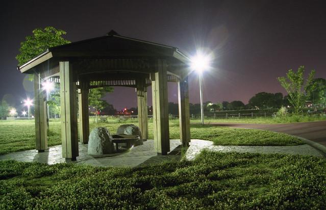 夜の公園のフリー写真素材