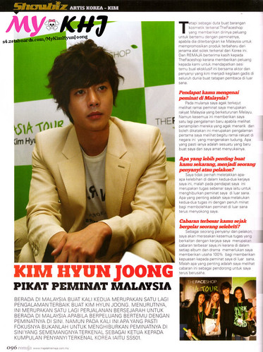 Kim Hyun Joong Remaja Malay Magazine January 2011 Issue