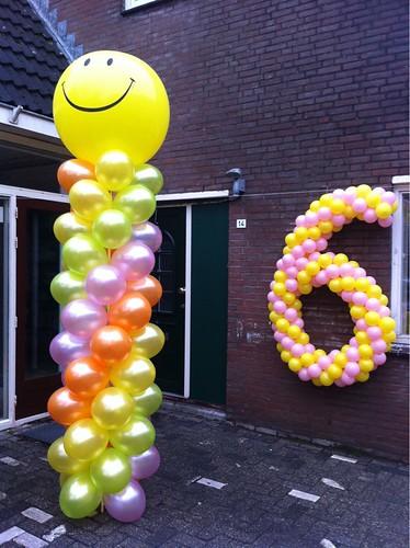 Ballonpilaar Breed Rond Verjaardag 6 Jaar Spijkenisse