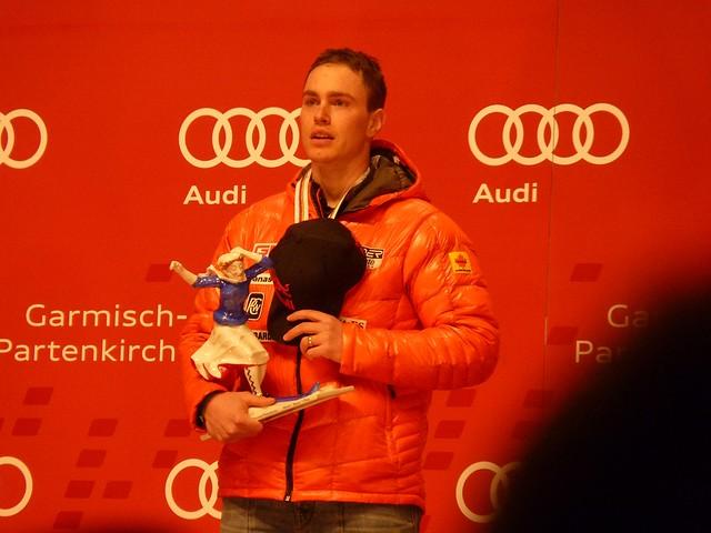 Erik Guay bei der Siegerehrung Abfahrt Männer, Ski-WM 2011