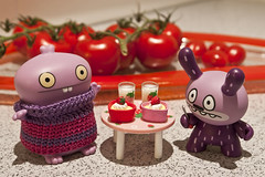 Uglyworld #978 - Pre-Valentines Snack (www.bazpics.com) Tags: glass table milk strawberry day desert drink cook pudding valentine valentines dunny uglydolls babo barryoneilphotography