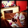 Bad mom letting her play the PS3 when she stays home sick from school.
