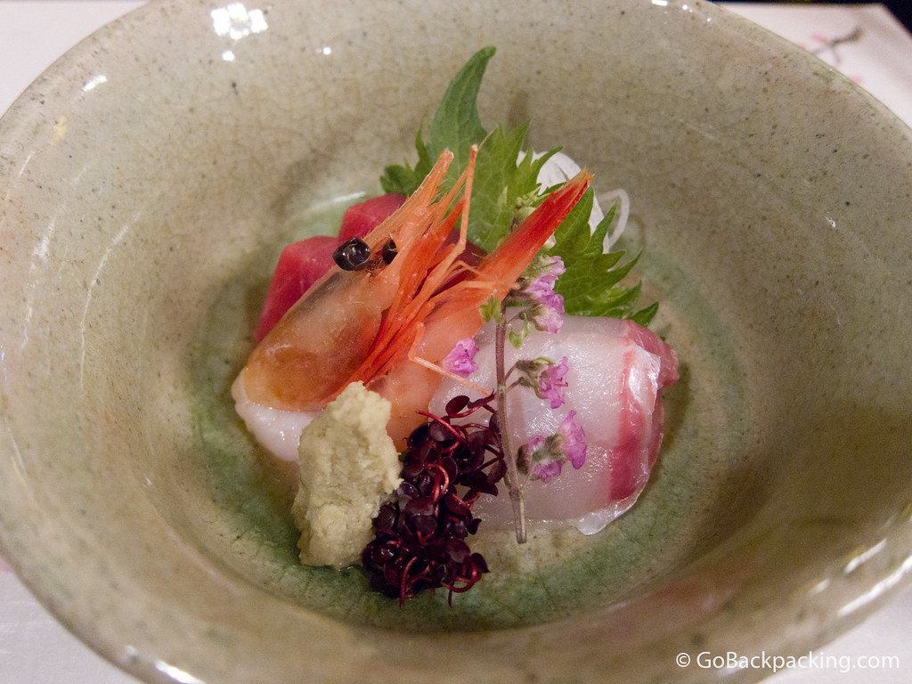 Course #2: prawn, tuna, white fish sashimi