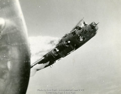 """B-24 42-94812 """"Little Warrior"""" hit on mission to Fallersleben,Germany on June 29,1944 (John Funk from Golden Colorado) Tags: flickr published aircraft year wwii group warrior bomb 34th 1944 usaaf 8thairforce eighthairforce consolidatedb24liberator httpwwwjohnfunkcom wwwjohnfunkcomwwii lewfunkmilitarycareer websitecitation 4294812little 493bombgroup"""