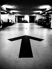 (ga3lle) Tags: blackandwhite white black photography photo noir lyon noiretblanc parking des palais arrow carpark et blanc internationale gaelle cite palaisdescongres congres fleche citeinternationale ga3lle taburiaux httpga3lletumblrcom