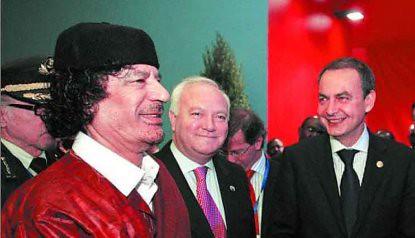 7l09 Lisboa Gaddafi Zapatero Moratinos