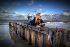 Picturess Princess (Shannon Rogers Photography) Tags: portrait seascape beach water girl beautiful lady clouds pier model sand women waves princess jetty australia wideangle karen blond tamron southaustralia hdr hdri younggirl picturess victorharbour younglady photomatix shannonrogers canoncanon7d shannonrogersphotography picturessprincess