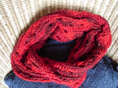 red Mbius (Fluxx) Tags: red scarf lace crochet craft math scarves mobius mbius mbiusband myowndesign slipstitches