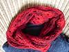 red Möbius (Fluxx) Tags: red scarf lace crochet craft math scarves mobius möbius möbiusband myowndesign slipstitches