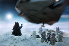 Darth Vader vs Millenium Falcon (Shobrick) Tags: snow dark studio star flying artist force lego side fear away millenium running powder lucas darth falcon planet unknown stormtrooper wars vader minifigs flour hoth uas shobrick