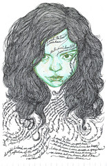 Geetha (L`N`Y) Tags: pen ink hair paper drawing nib geetha iwanttoliveinyourhair