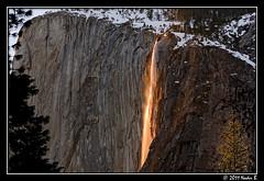 Horsetail Fall 06 (Nader B.) Tags: california winter snow fall photoshop nationalpark nikon falls yosemite nikkor elcapitan 70300mm nader febuary horsetail firefall horsetailfall cs5 d7000 nikcolorefexpro3 naderb