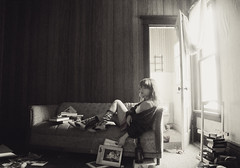 (yyellowbird) Tags: bw house selfportrait abandoned girl illinois malta livingroom couch cari