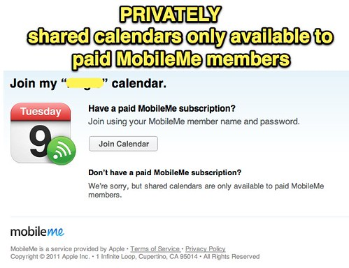 PRIVATELY shared calendars only available to paid MobileMe members