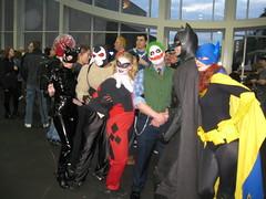 Bat Group. (phantomoftheopera111) Tags: seattle washington costume cosplay batman joker batgirl comiccon bane catwoman comicon harleyquinn emeraldcitycomicon 2011