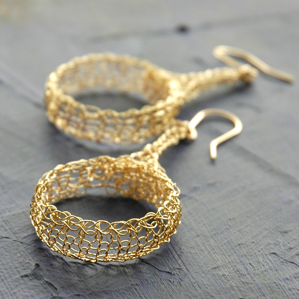 Ethnic crocheted large circle earrings in gold